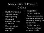characteristics of research culture