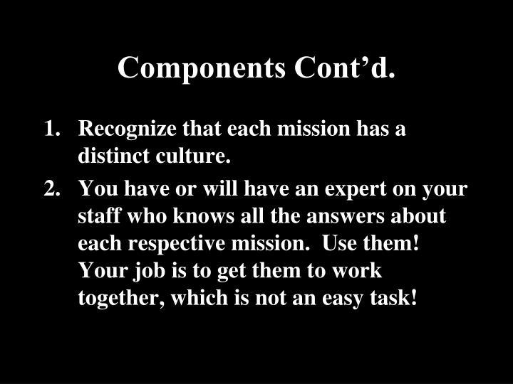 Components Cont'd.
