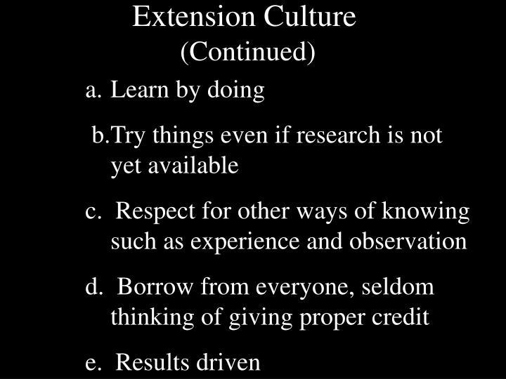 Extension Culture