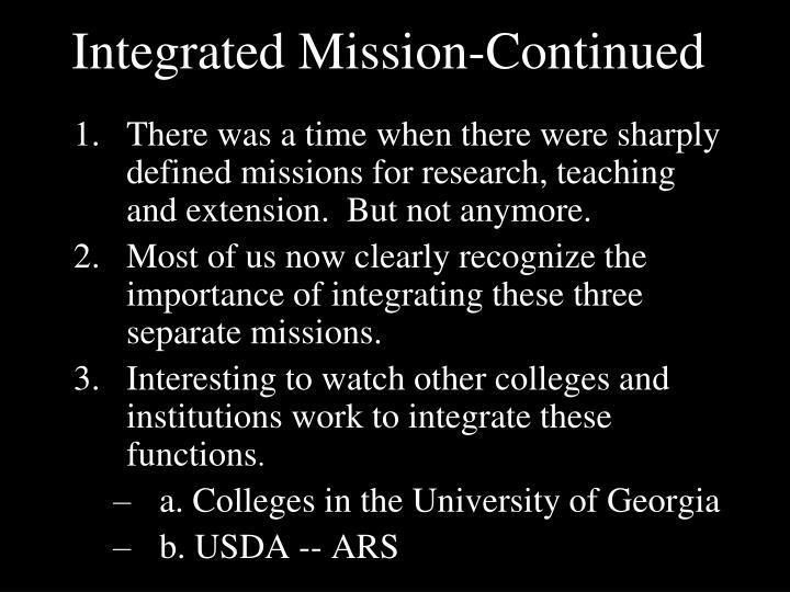 Integrated Mission-Continued