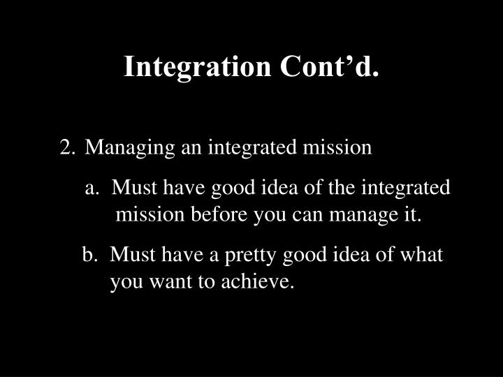 Integration Cont'd.