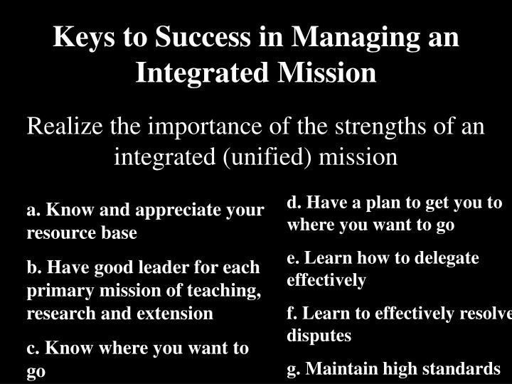 Keys to Success in Managing an Integrated Mission