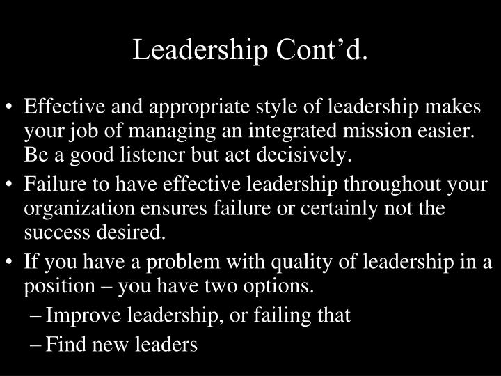 Leadership Cont'd.