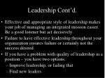 leadership cont d