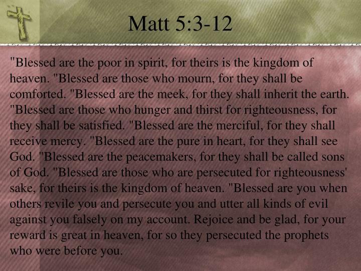 Matt 5:3-12