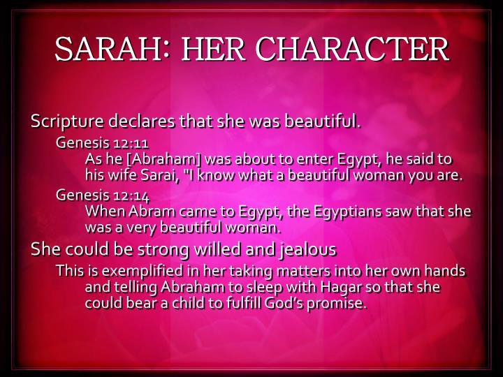 SARAH: HER CHARACTER