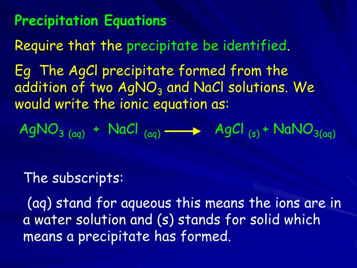 Precipitation Equations
