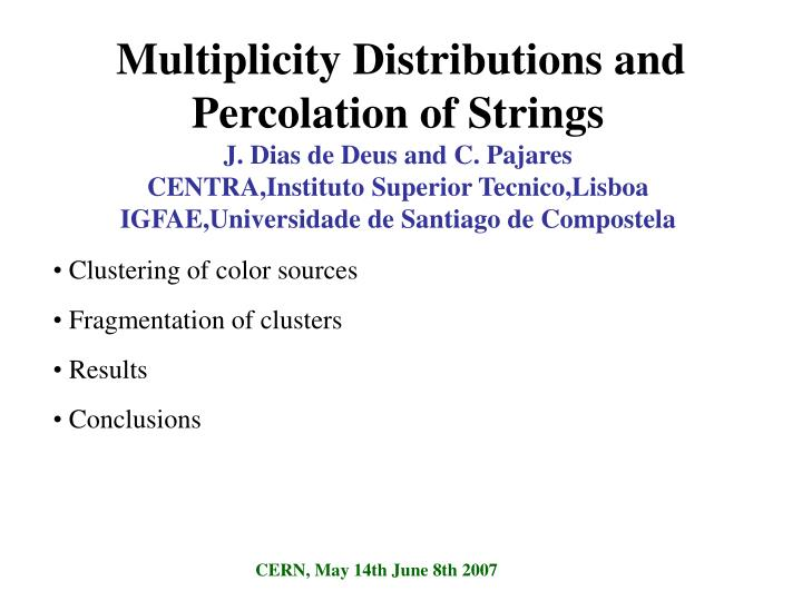 Multiplicity Distributions and Percolation of Strings