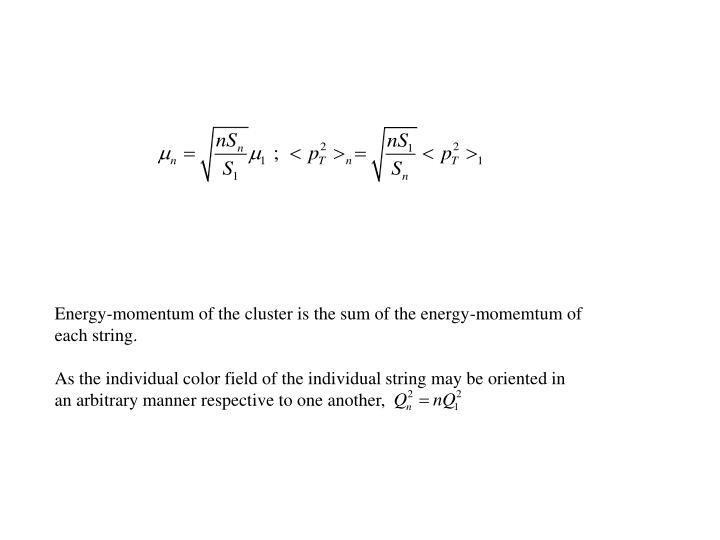Energy-momentum of the cluster is the sum of the energy-momemtum of
