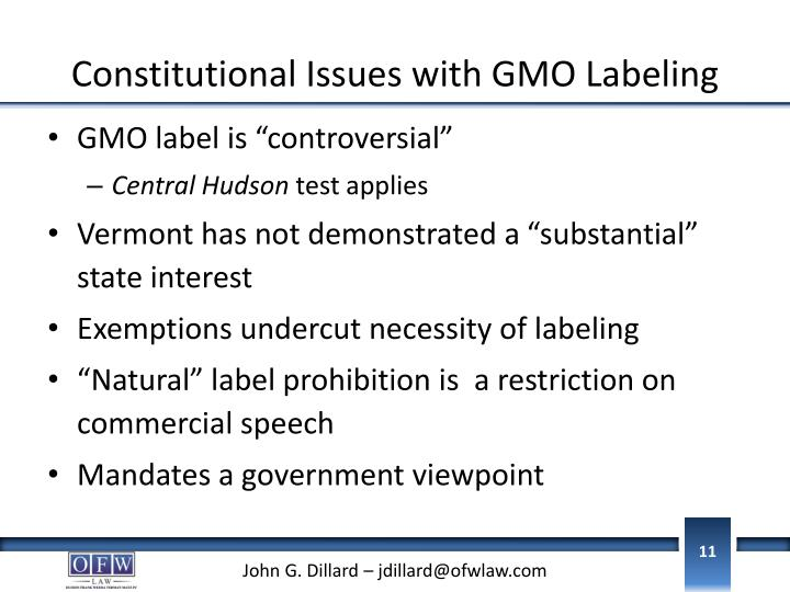 Constitutional Issues with GMO Labeling