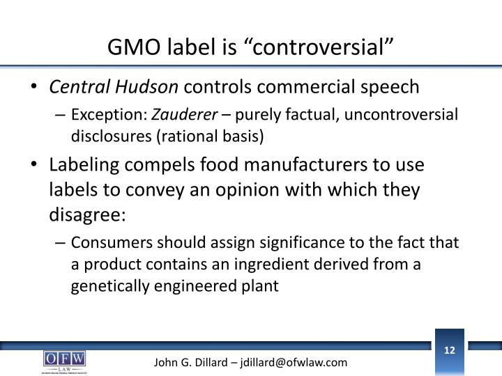 "GMO label is ""controversial"""