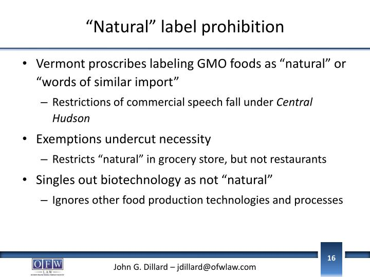 """Natural"" label prohibition"