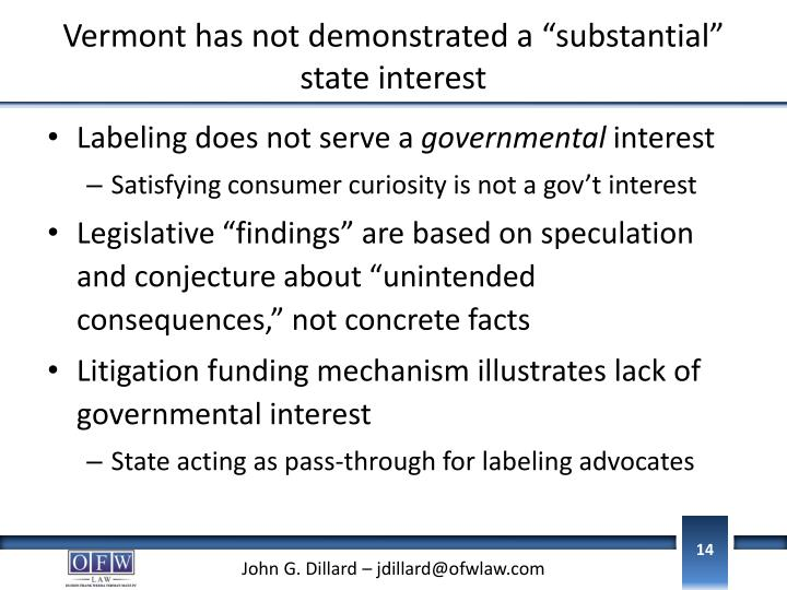 "Vermont has not demonstrated a ""substantial"" state interest"