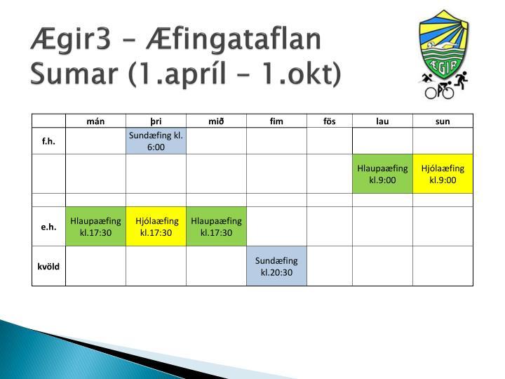 Ægir3 – Æfingataflan