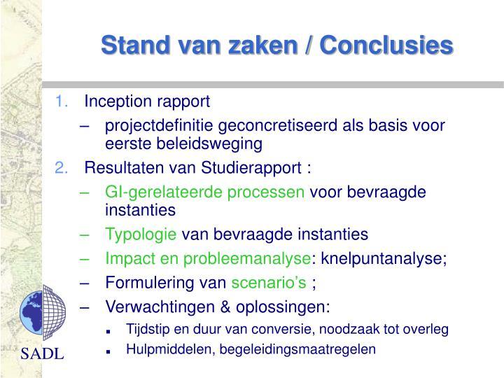 Stand van zaken / Conclusies