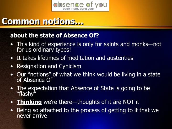 Common notions…