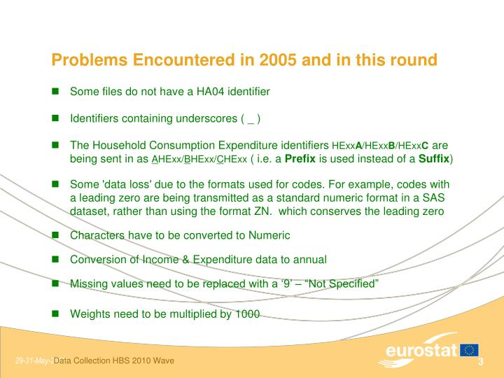 Problems encountered in 2005 and in this round
