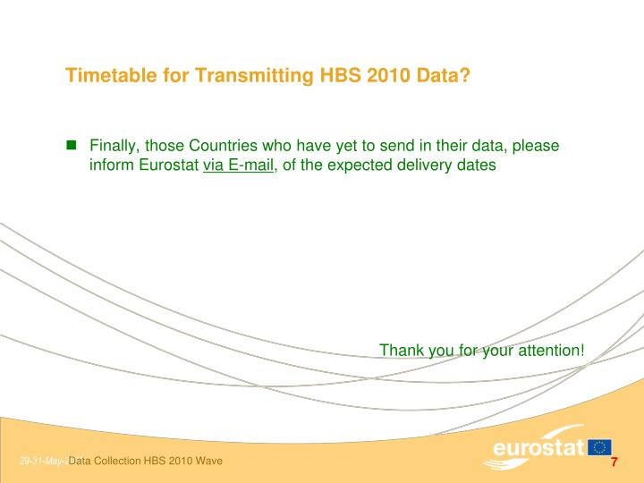 Timetable for Transmitting HBS 2010 Data?