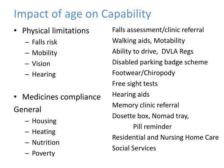 Impact of age on Capability