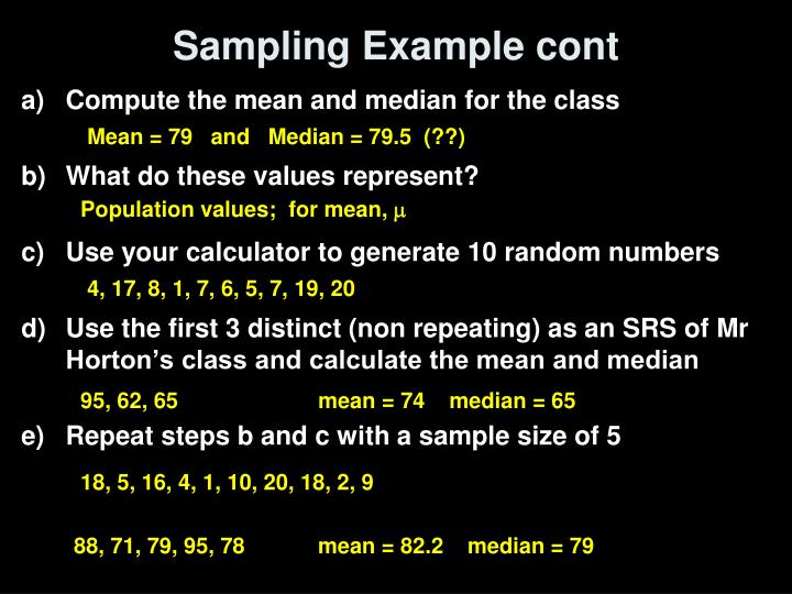 Sampling Example cont