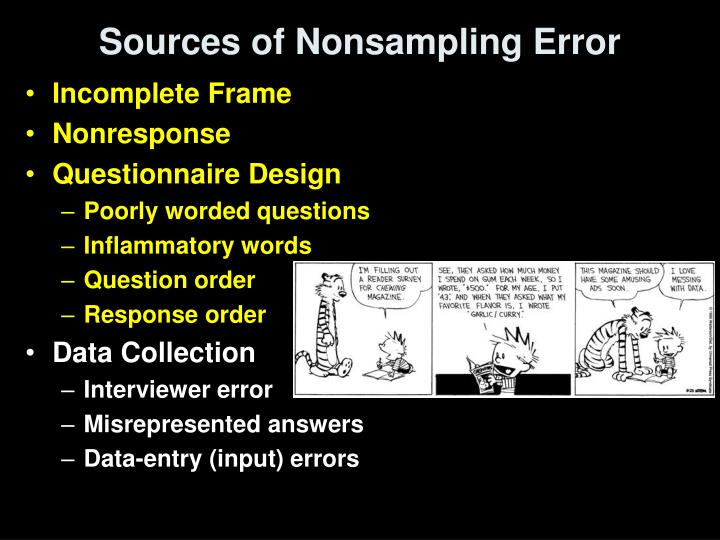 Sources of Nonsampling Error
