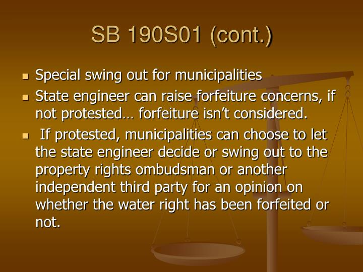 SB 190S01 (cont.)