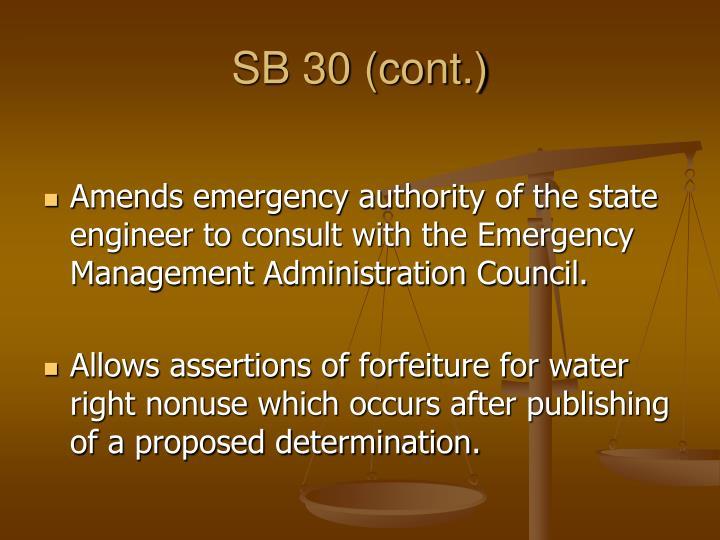 SB 30 (cont.)