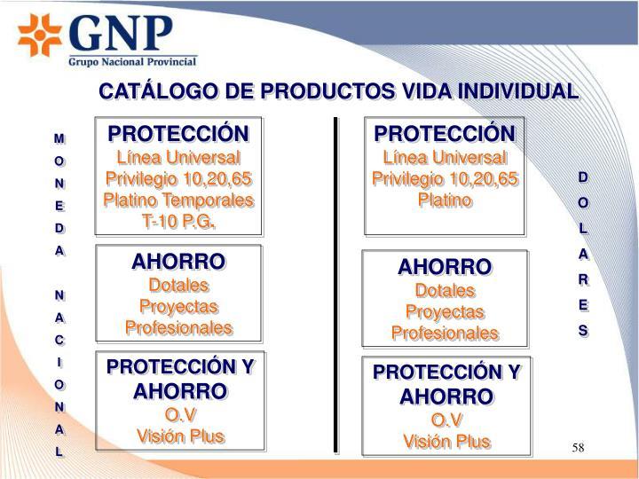 CATÁLOGO DE PRODUCTOS VIDA INDIVIDUAL