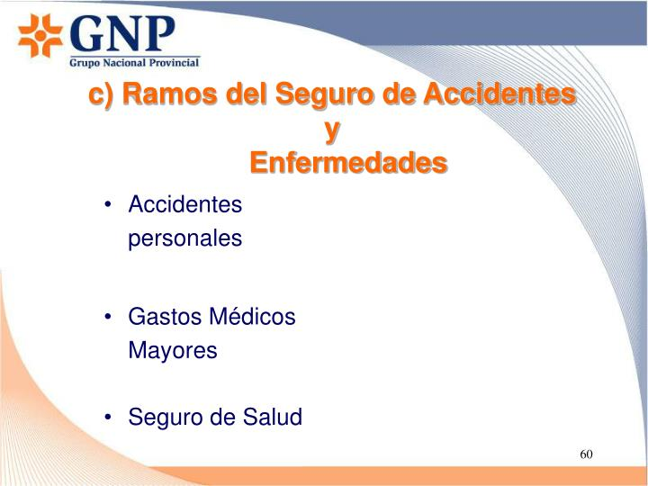 c) Ramos del Seguro de Accidentes y
