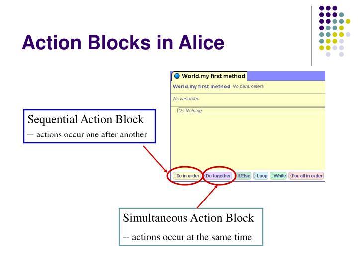 Action Blocks in Alice