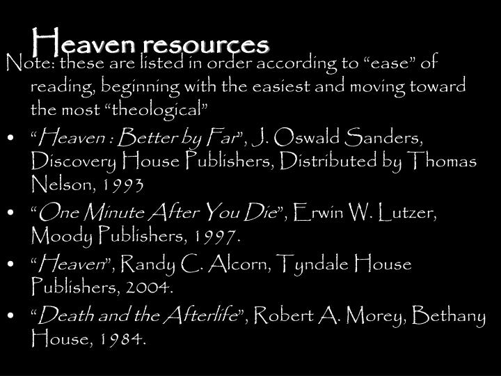 Heaven resources