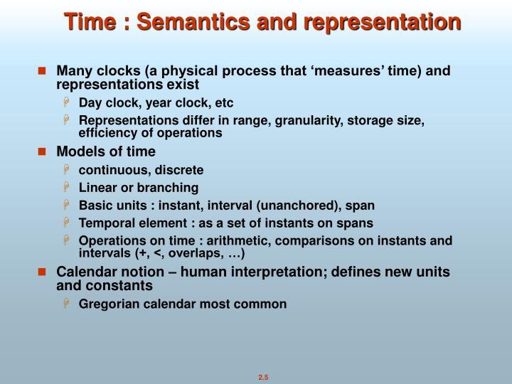 Time : Semantics and representation