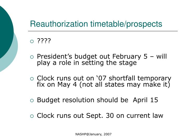 Reauthorization timetable/prospects