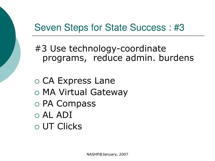 Seven Steps for State Success : #3