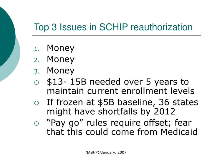 Top 3 Issues in SCHIP reauthorization