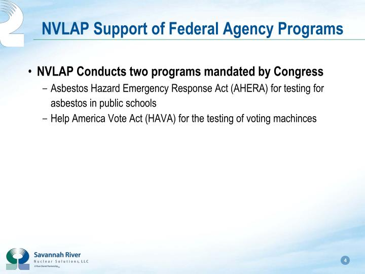 NVLAP Support of Federal Agency Programs