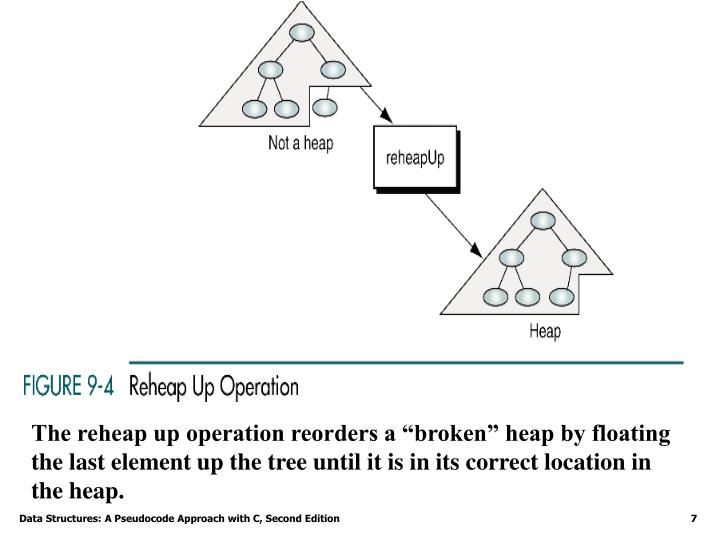 "The reheap up operation reorders a ""broken"" heap by floating the last element up the tree until it is in its correct location in the heap."