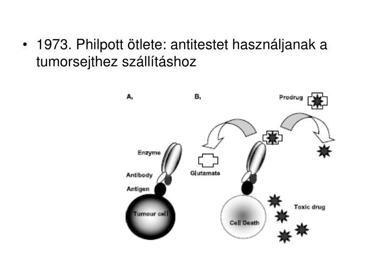 1973. Philpott ötlete: antitestet használjanak a tumorsejthez szállításhoz