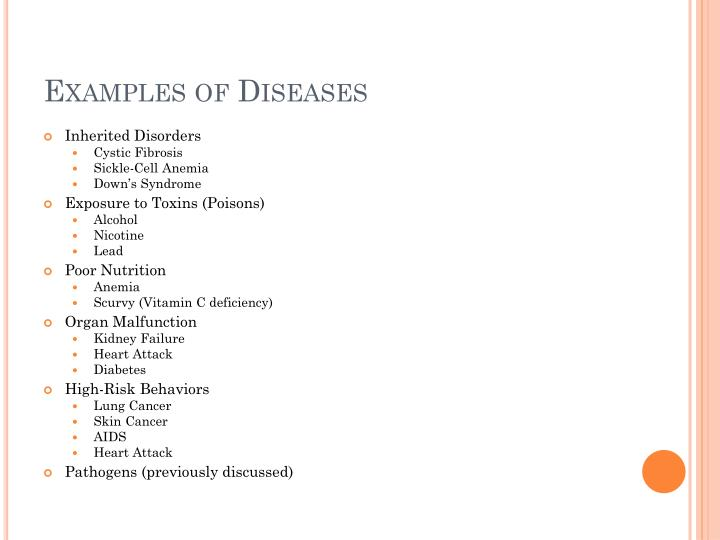 Examples of Diseases