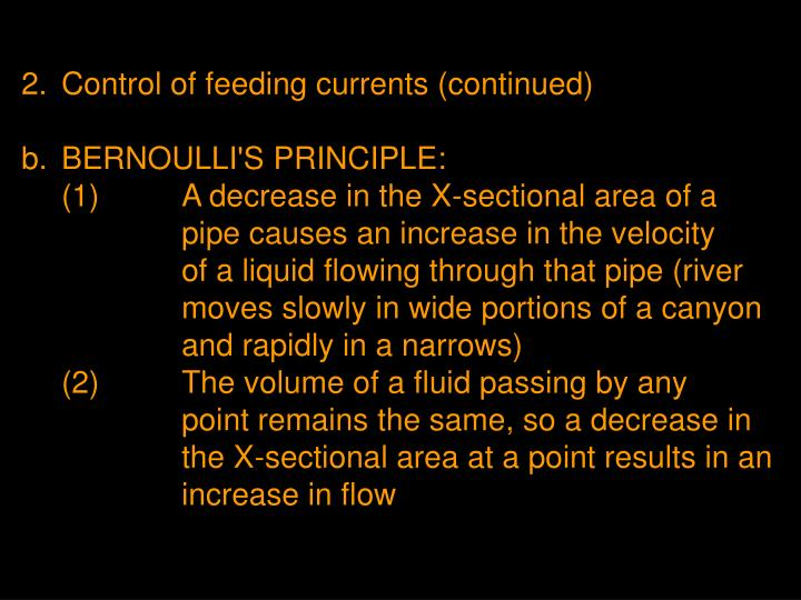2.	Control of feeding currents (continued)