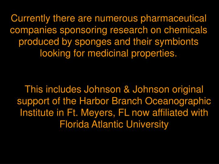 Currently there are numerous pharmaceutical companies sponsoring research on chemicals produced by sponges and their symbionts looking for medicinal properties.