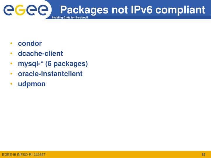 Packages not IPv6 compliant