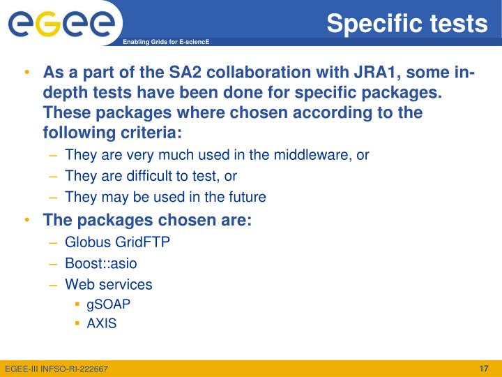 Specific tests