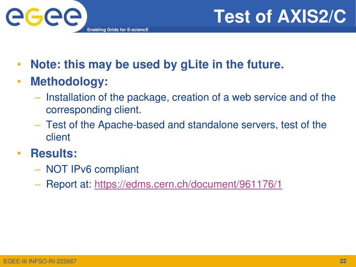 Test of AXIS2/C