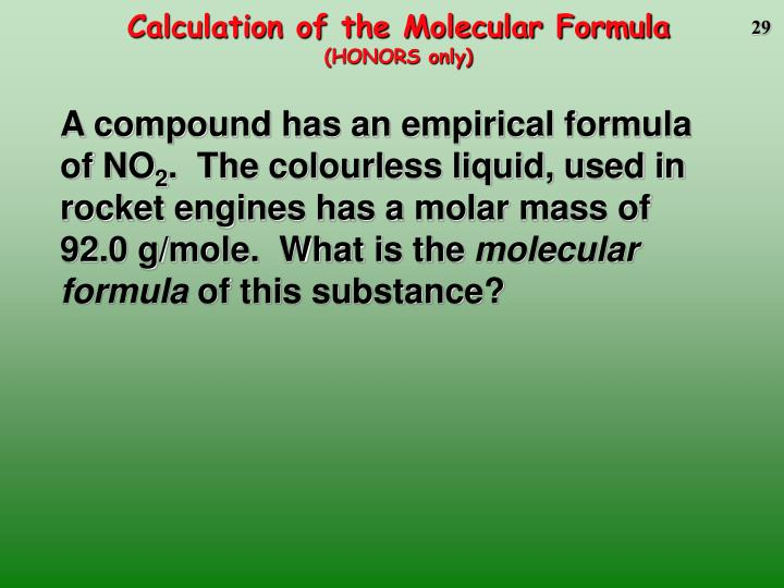 Calculation of the Molecular Formula