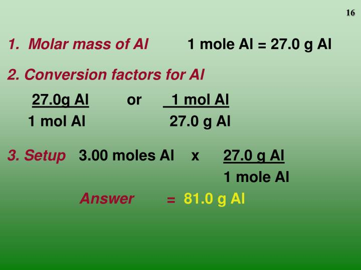 1.  Molar mass of Al