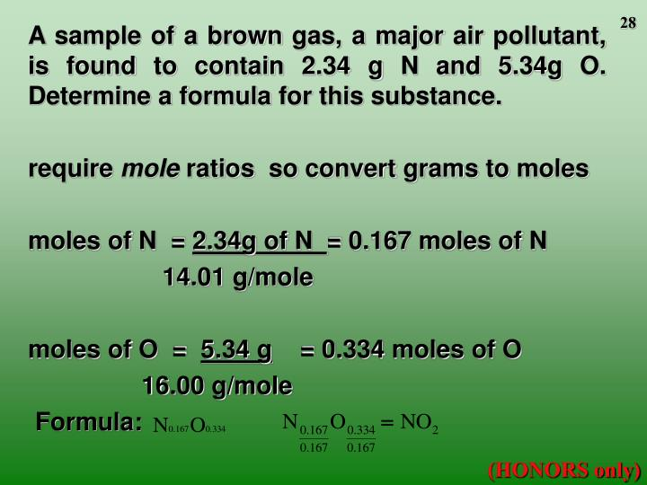 A sample of a brown gas, a major air pollutant, is found to contain 2.34 g N and 5.34g O.  Determine a formula for this substance.