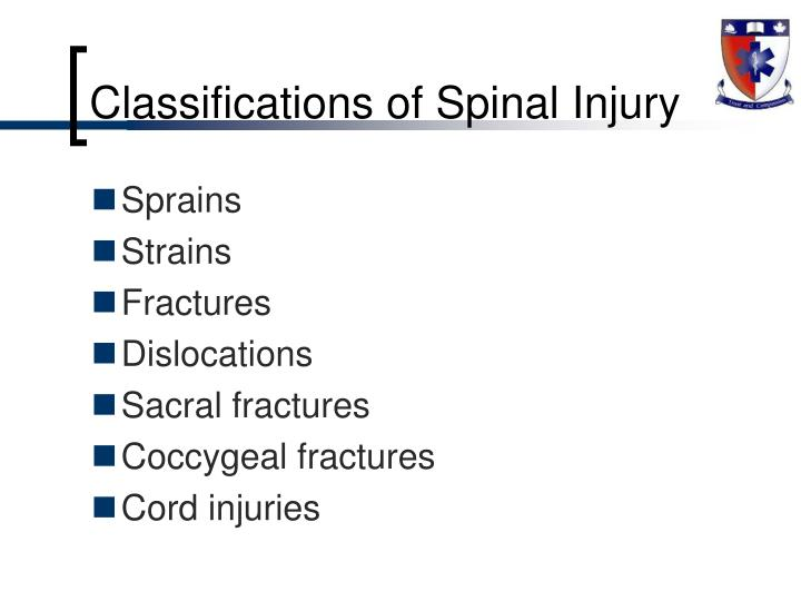 Classifications of Spinal Injury