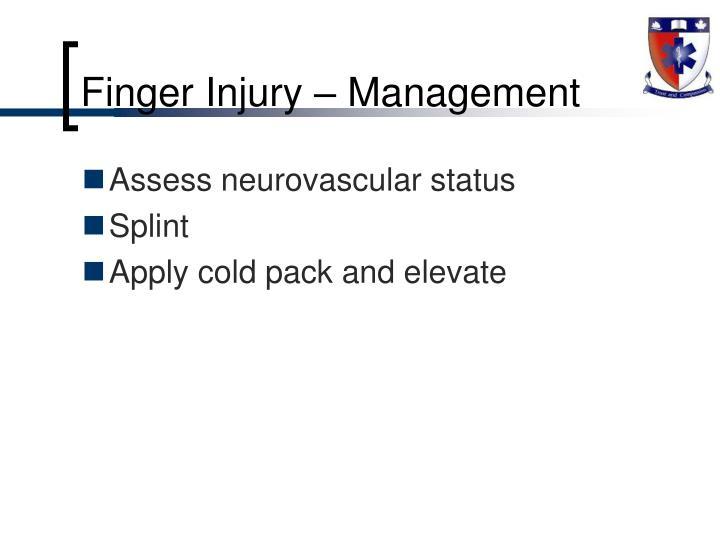Finger Injury – Management