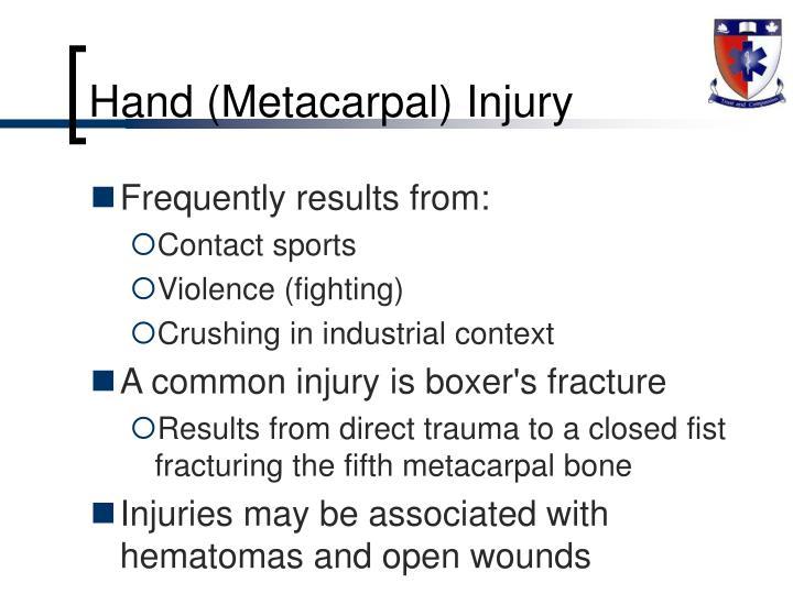 Hand (Metacarpal) Injury